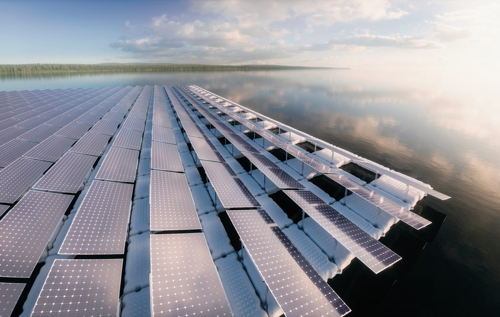 Concept of a floating solar panel array in beautifull calm morning lake with distant wild forest in background. 3d rendering.